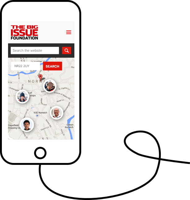 Mockup of Big Issue responsive website