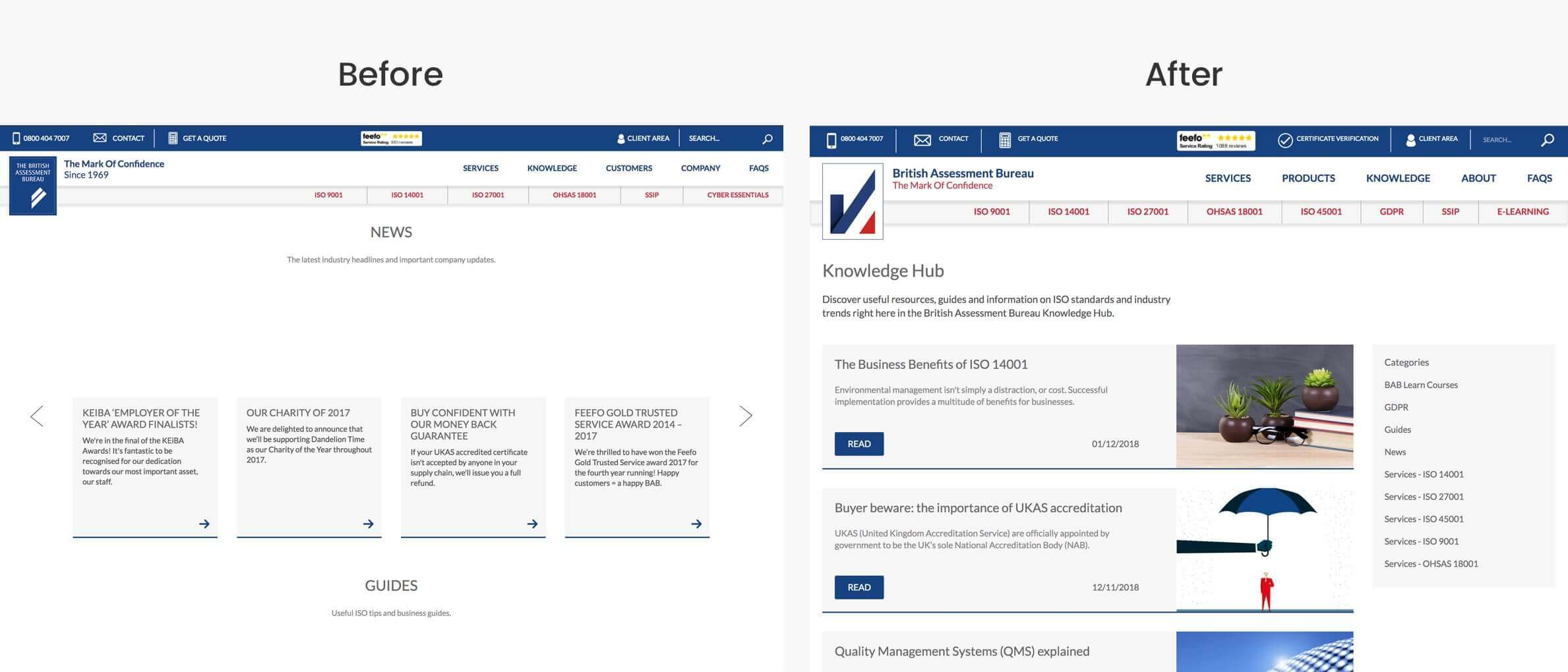Comparison of our new knowledge hub website design compared to the old site