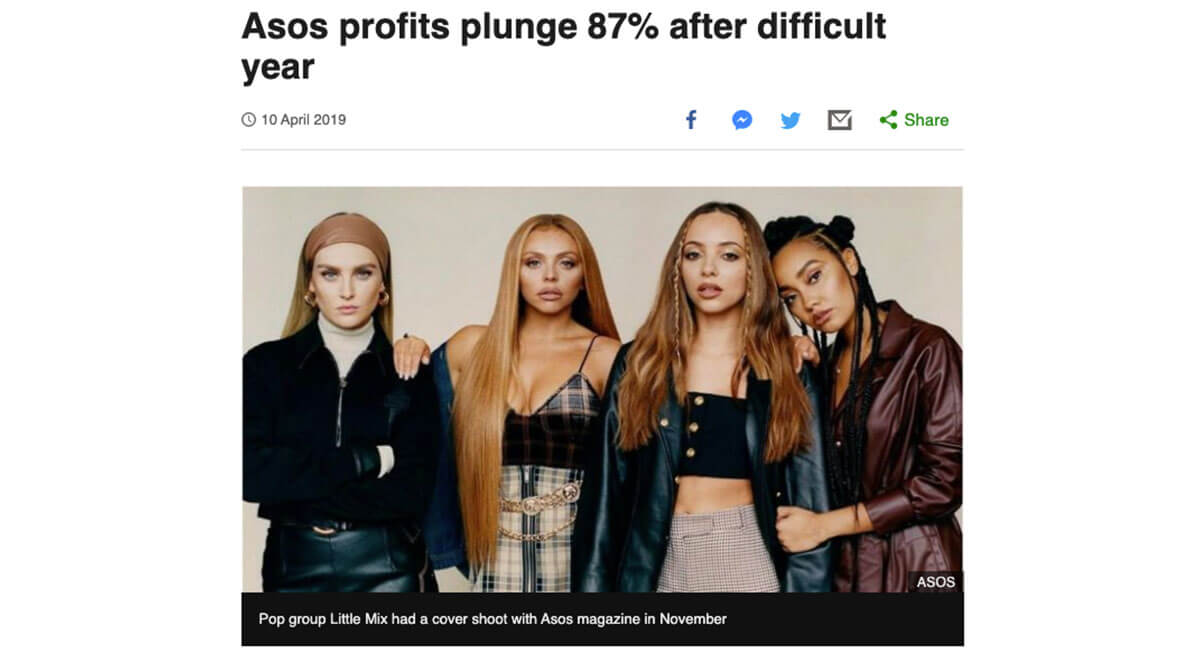 BBC article about ASOS' loss of profit after SEO mistakes.