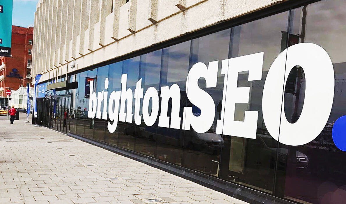 The BrightonSEO logo in a window.