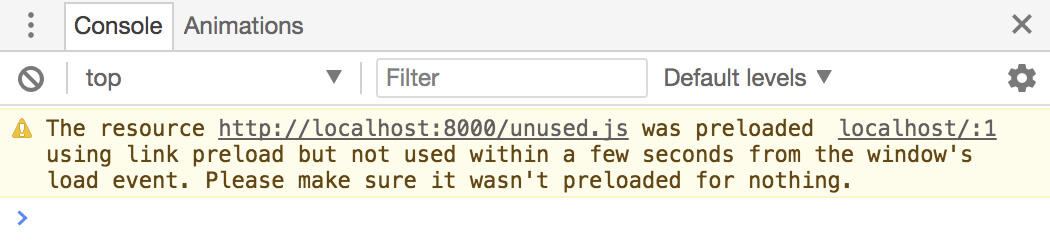 An example of a warning given by Chrome when it thinks you're abusing preloading directives.