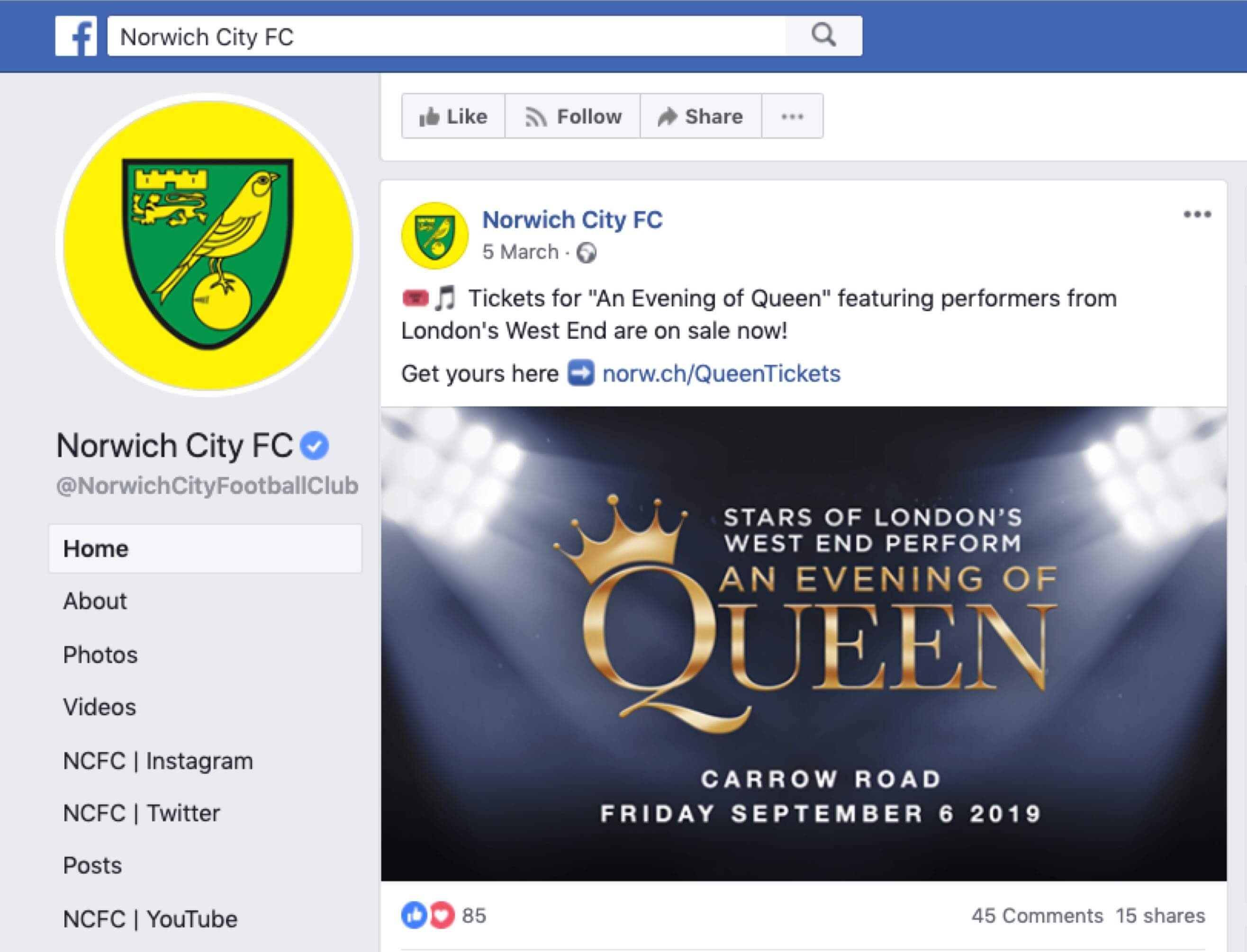 An image of the Facebook advert for Norwich City FC's Evening of Queen event.