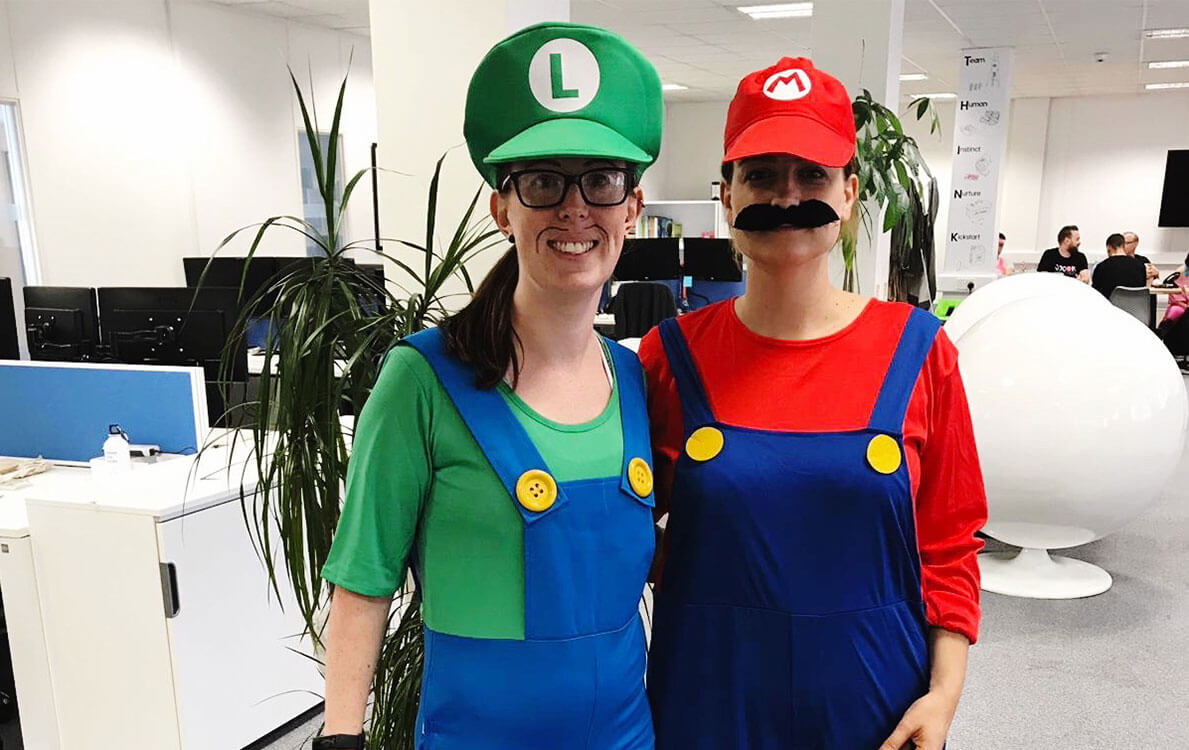 Game Masters Kate and Rhian dressed as Mario and Luigi for the Selesti birthday party.