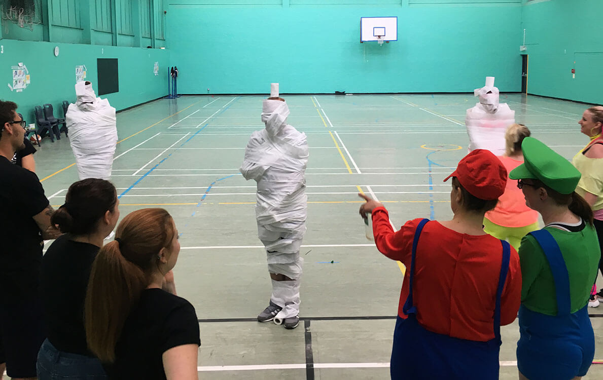 The team captains looked much better wrapped in toilet roll!