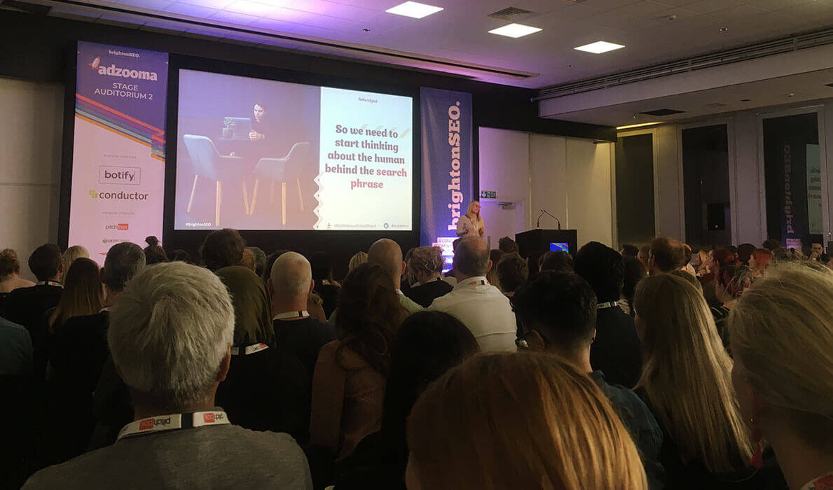 Becky Simms delivered a fascinating talk about psychology at BrightonSEO