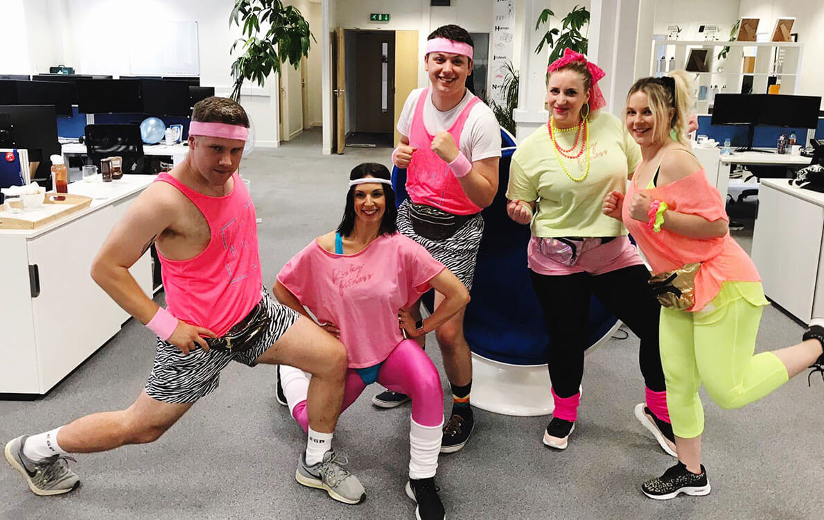 Team Risky Fitness went all out in 80s glam for the Selesti birthday party!
