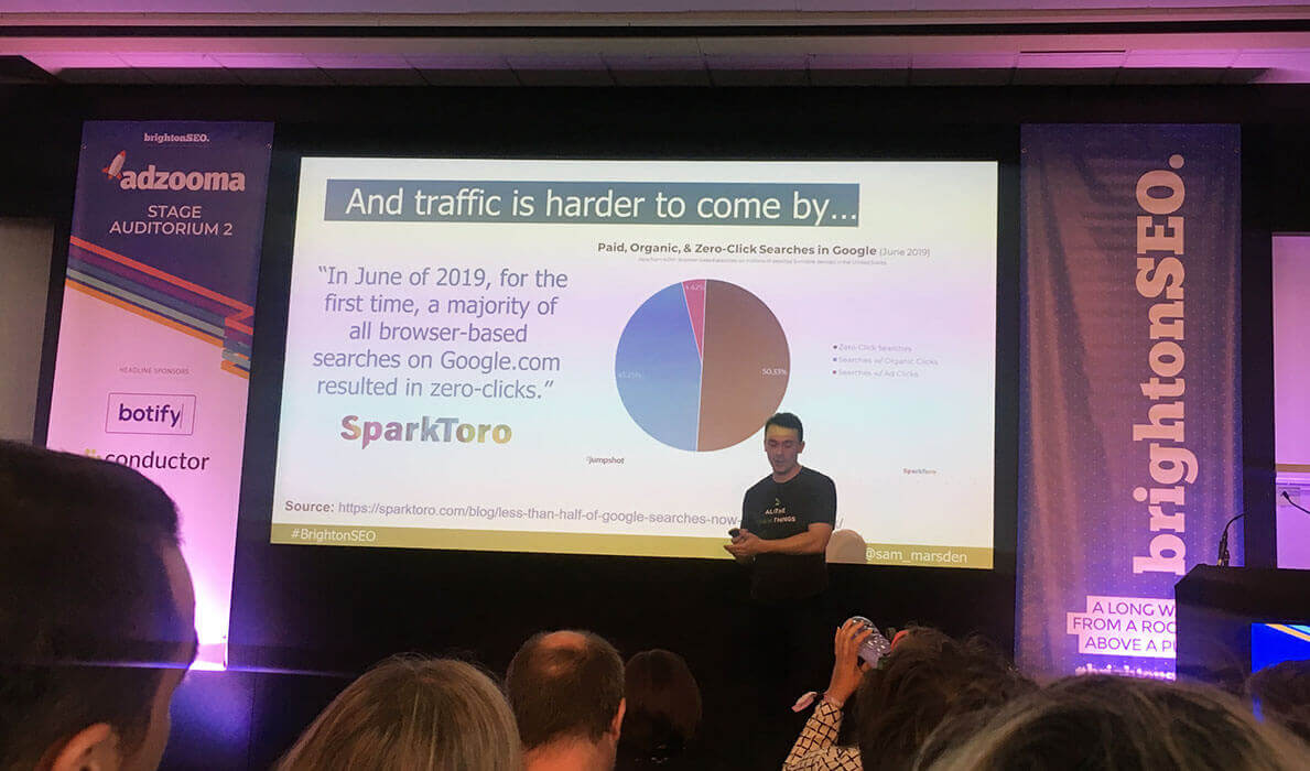 Sam Marsden from Deepcrawl offered practical examples for reducing dependency on organic search at BrightonSEO