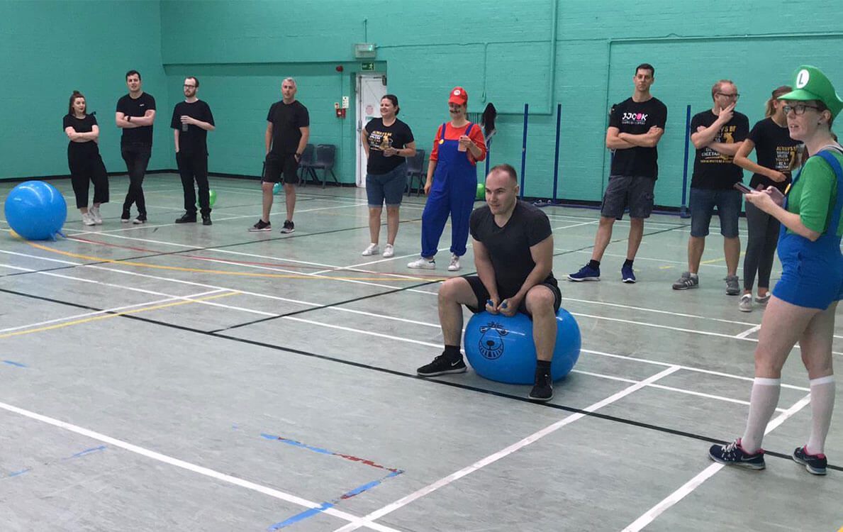 Search Marketing Manager Seb ready for the space hopper race.